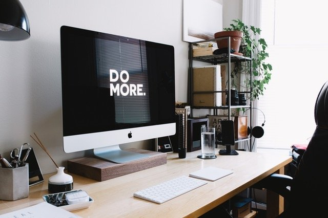 desktop computer, apple computer, black and white, minimalist office space