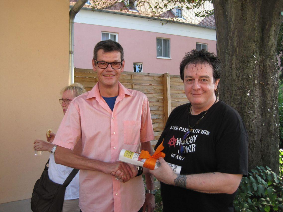 Gallery owner Herbert Katinger (left) with Austrian Painter Karl Winkler (right)