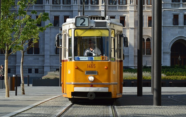 City tram in Budapest, yellow tram number two