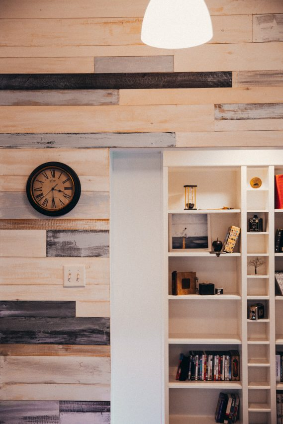 modern wood panelled wall and shelving-interior to decorate small spaces