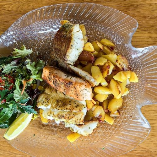 An easy to make pan seared halibut with salmon and salad