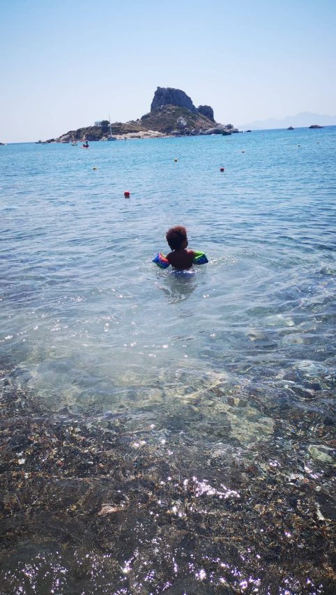 My son at Kefalos Beach